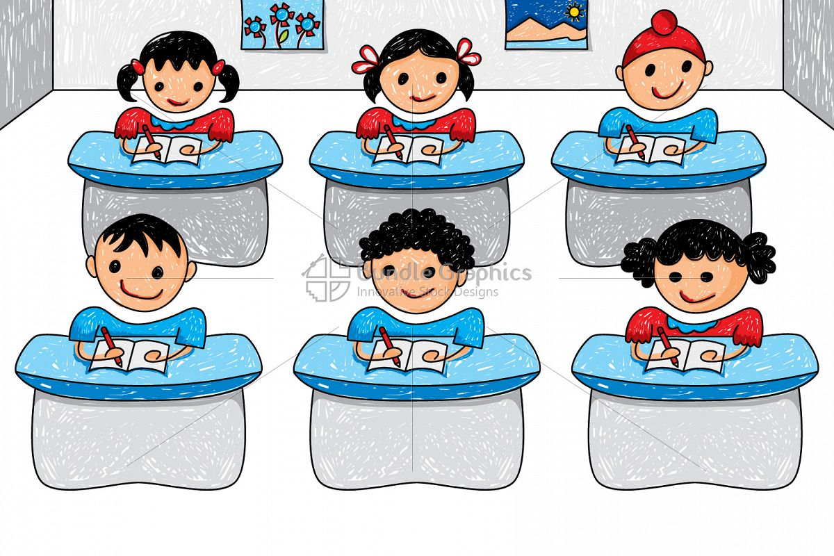 Kids Classroom Graphical Illustration example image 1