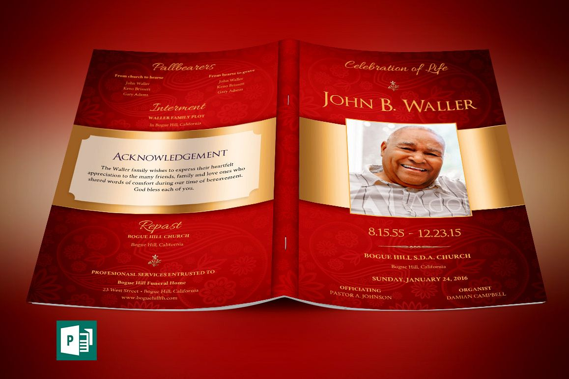 Red Gold Dignity Funeral Program Publisher Template  example image 1