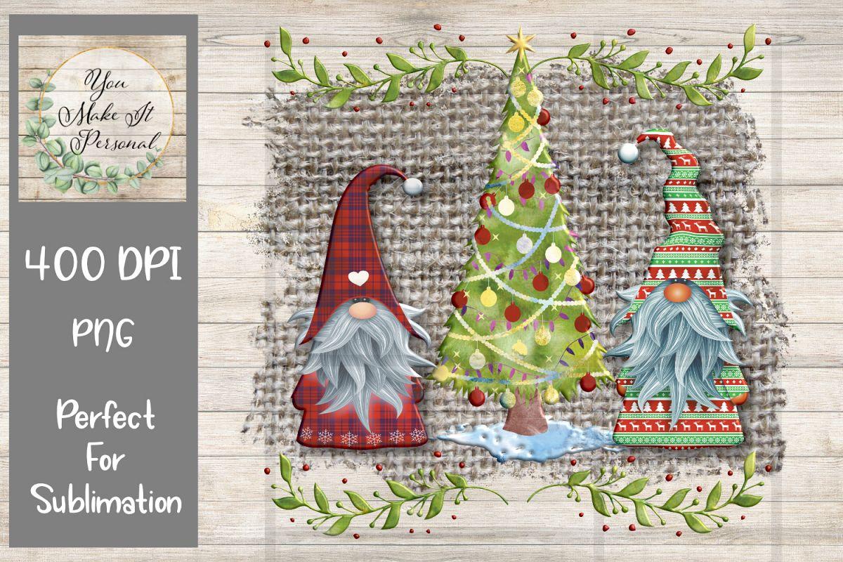 Gnome Christmas Design on Burlap Background example image 1