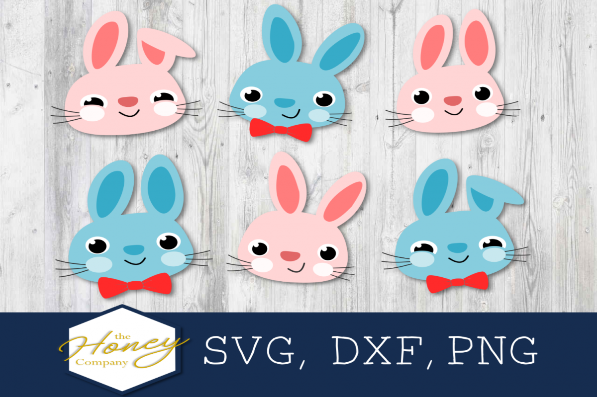 Easter Bunny SVG PNG DXF Happy Easter Spring Bow Tie Rabbit example image 1