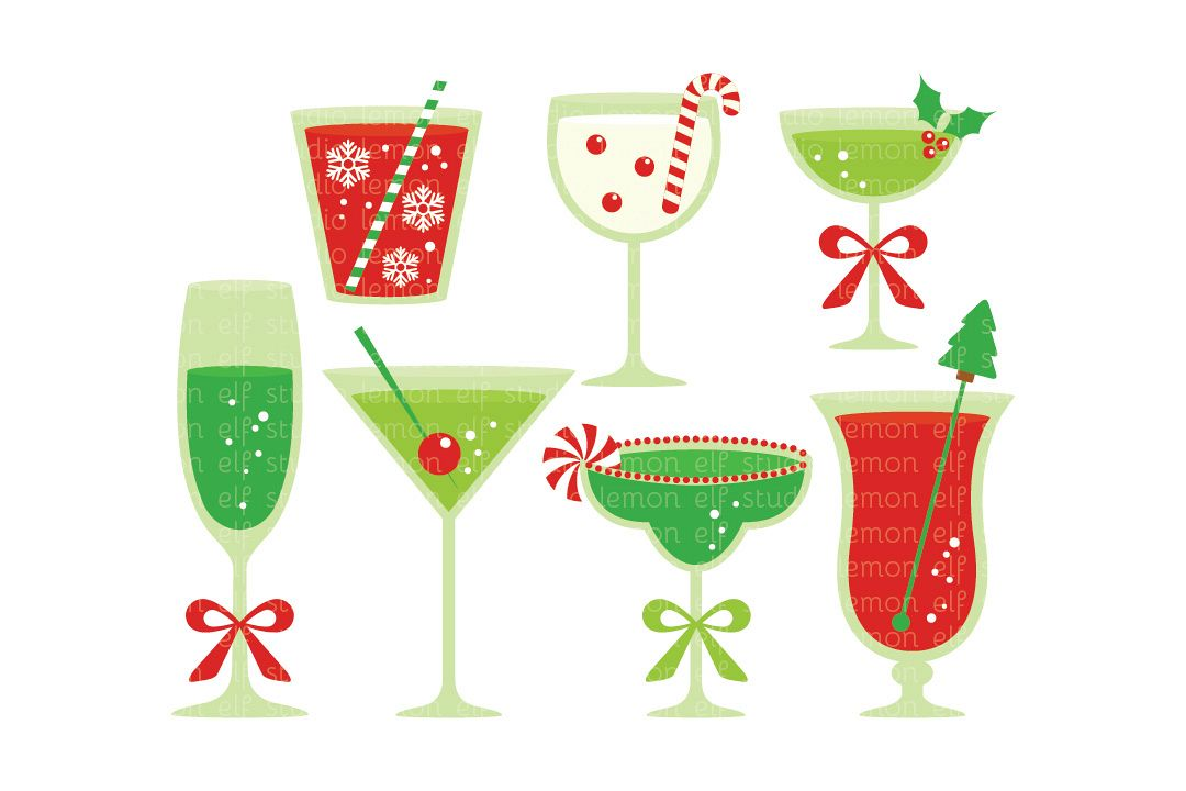 christmas cocktails digital clipart lescl53 example image 1 - Christmas Martini Glasses