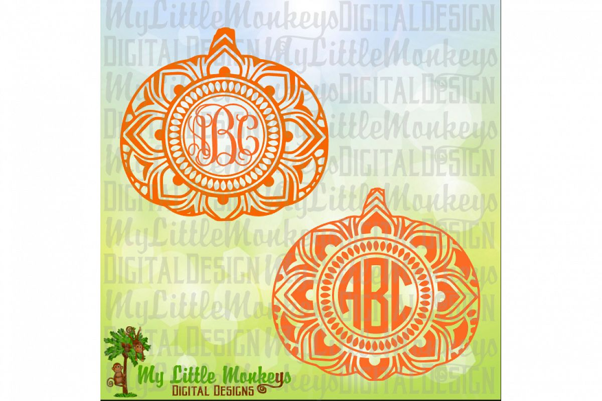 Pumpkin Mandala Monogram Base  example image 1