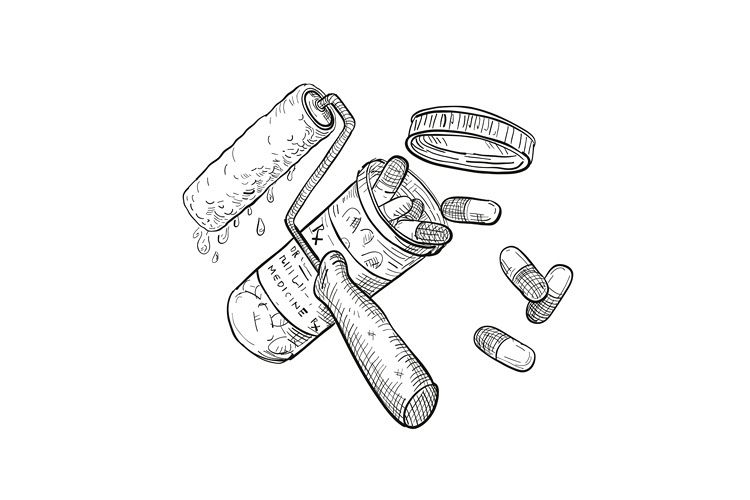 Paint Roller Medicine Pill Bottle Drawing Black and White example image 1