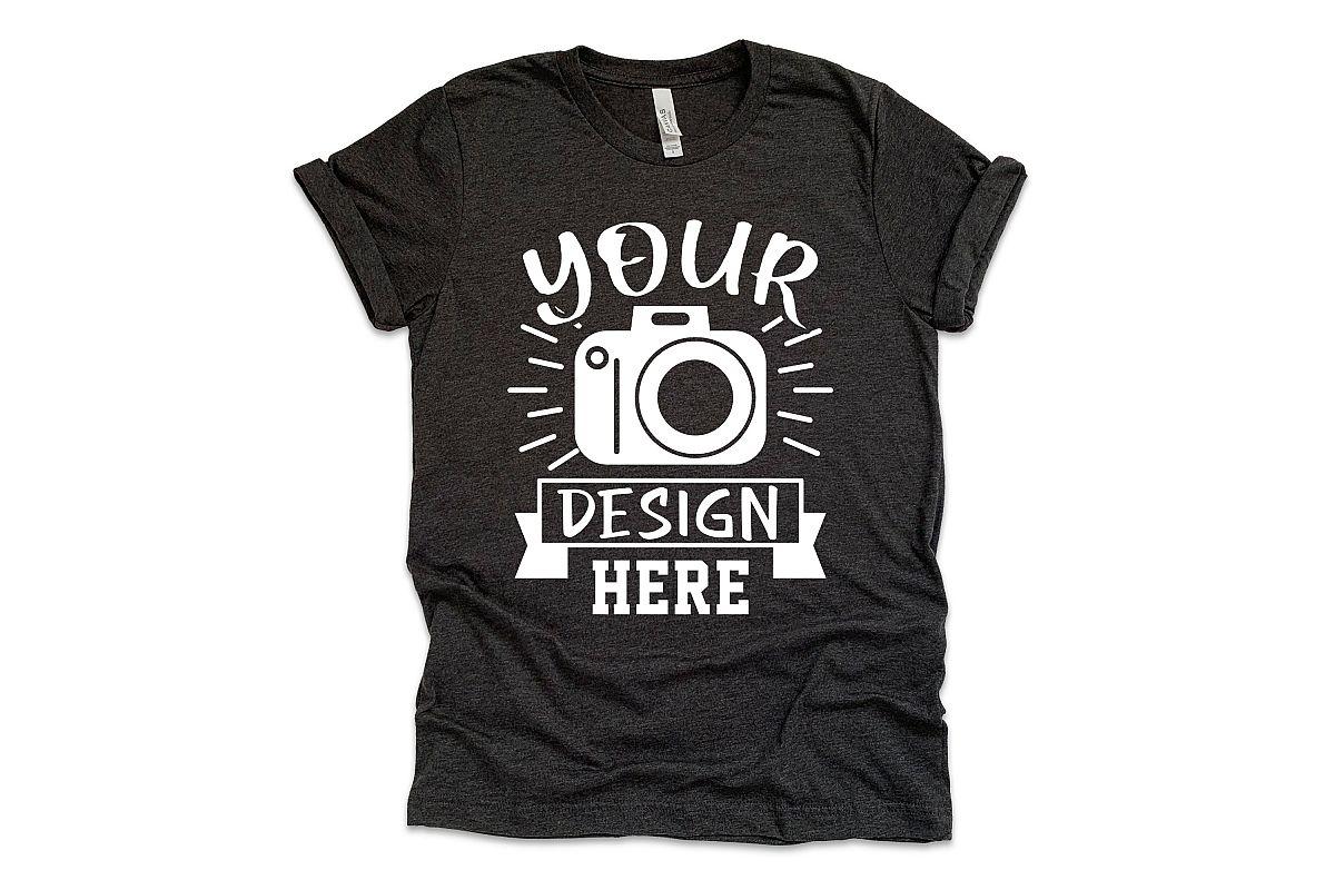 Bella Canvas 3001 Mockup, dark grey heather t-shirt mockup example image 1