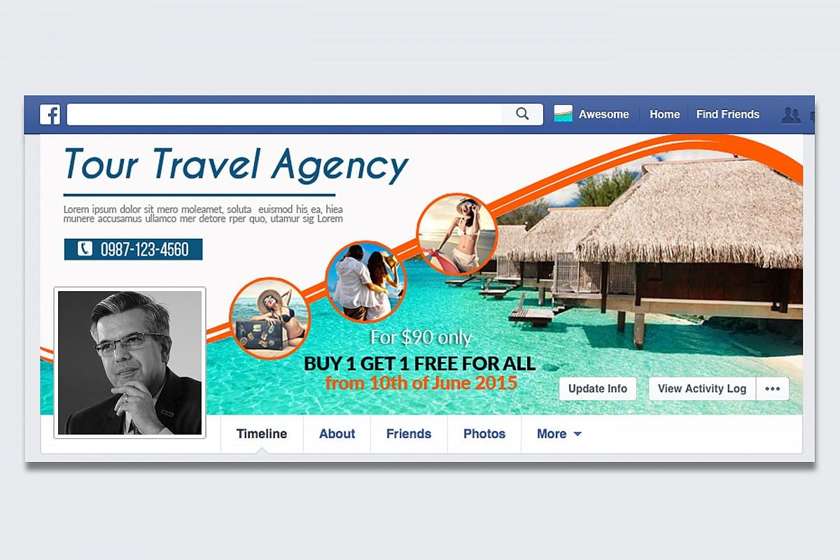Tour & Travel Facebook Timeline Cover example image 1