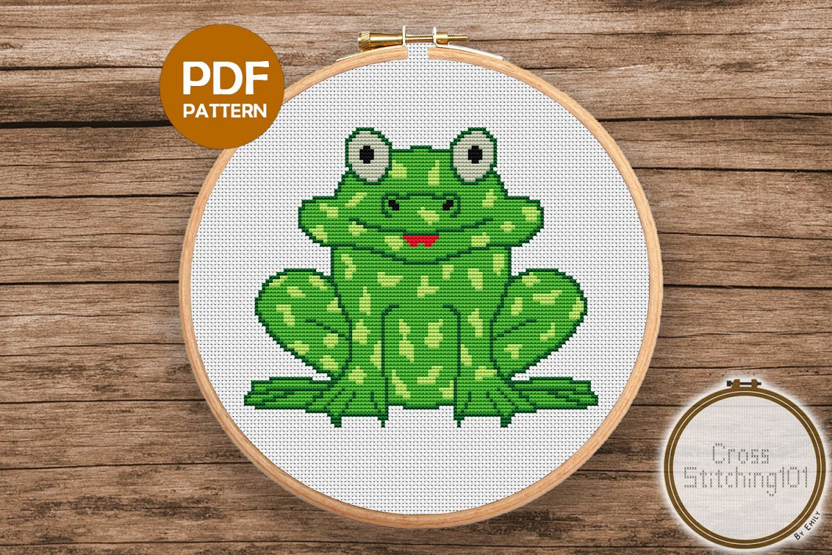 Green Frog Cross Stitch Pattern- Instant Download PDF example image 1