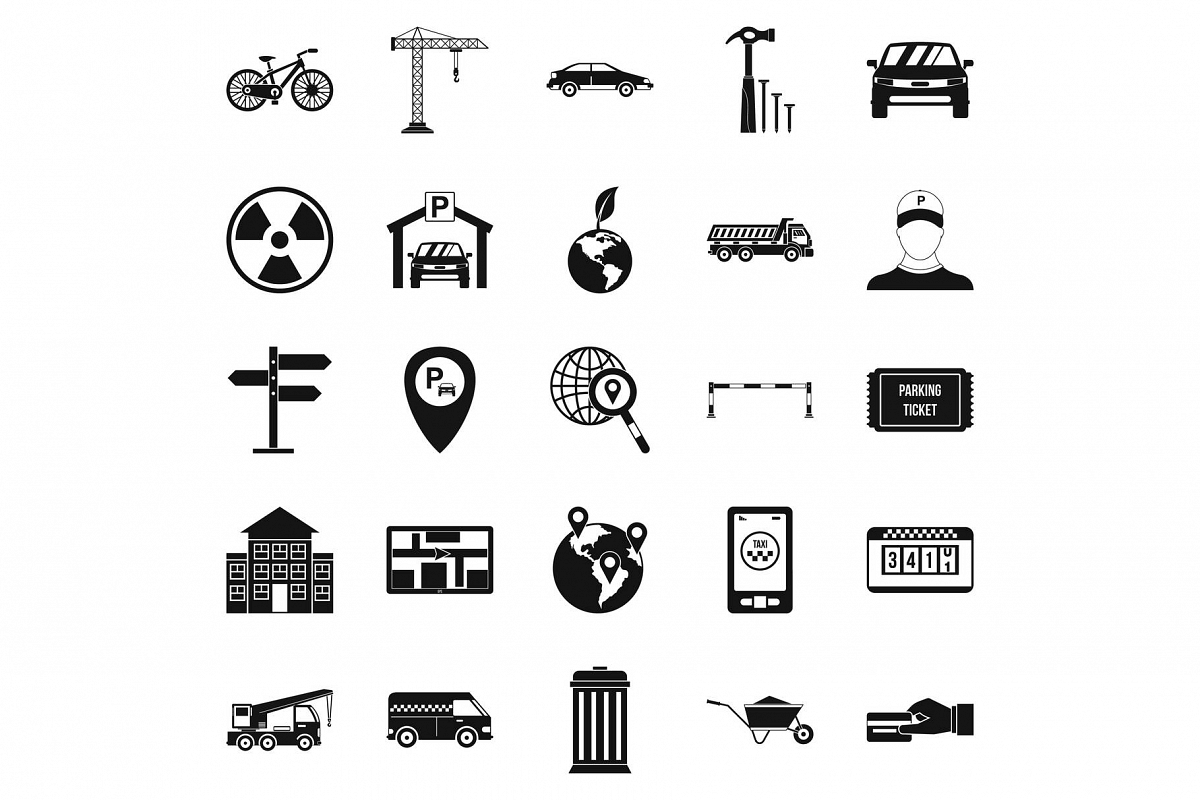 Device icons set, simple style example image 1