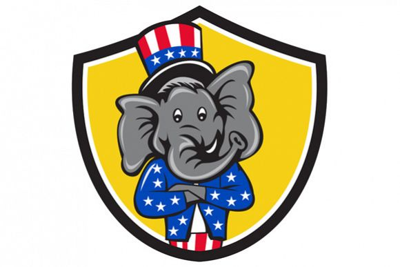 Republican Elephant Mascot Arms Crossed Shield Cartoon example image 1