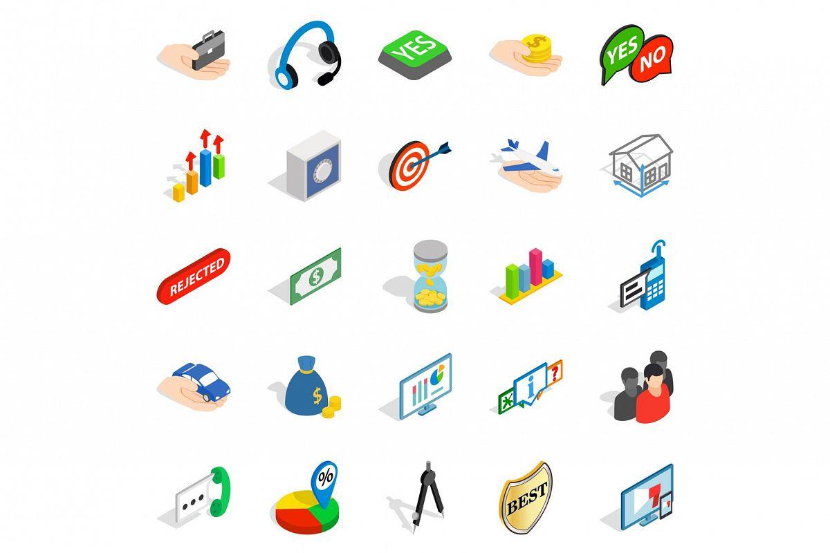 Business woman icons set, isometric style example image 1
