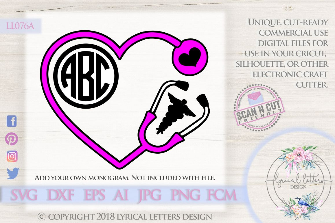 Stethoscope Monogram Frame with Caduceus SVG DXF LL076A example image 1