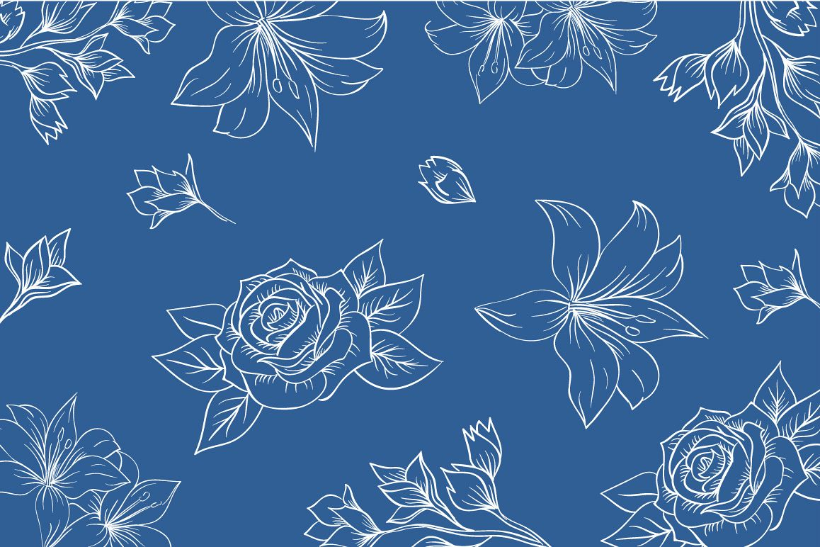 lineart floral pattern vector