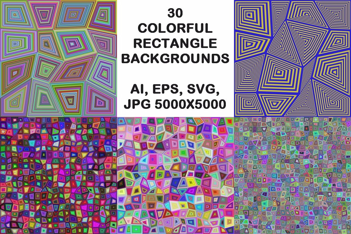 30 colorful rectangle backgrounds (AI, EPS, SVG, JPG 5000x5000) example image 1