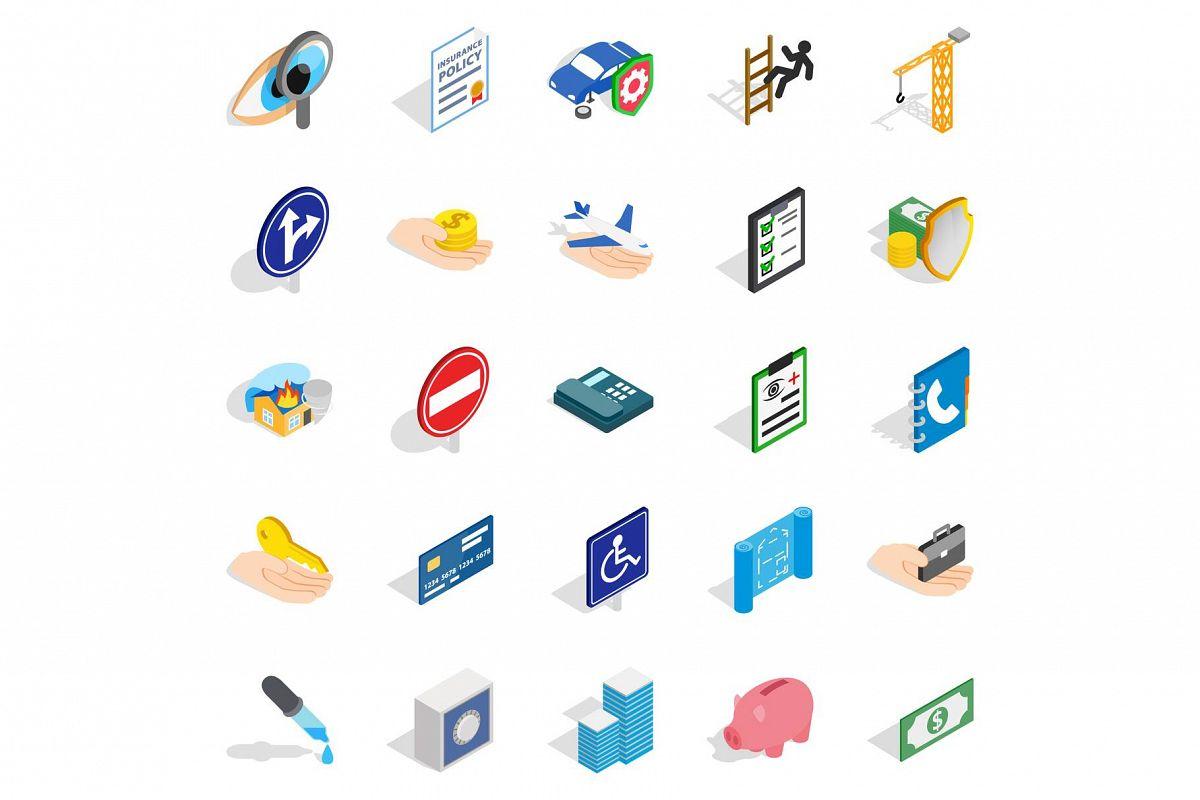 Trouble icons set, isometric style example image 1