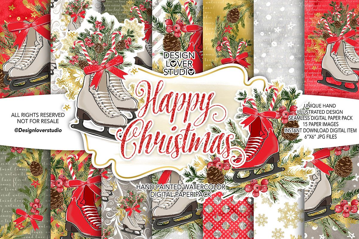 Skates Christmas digital paper pack example image 1