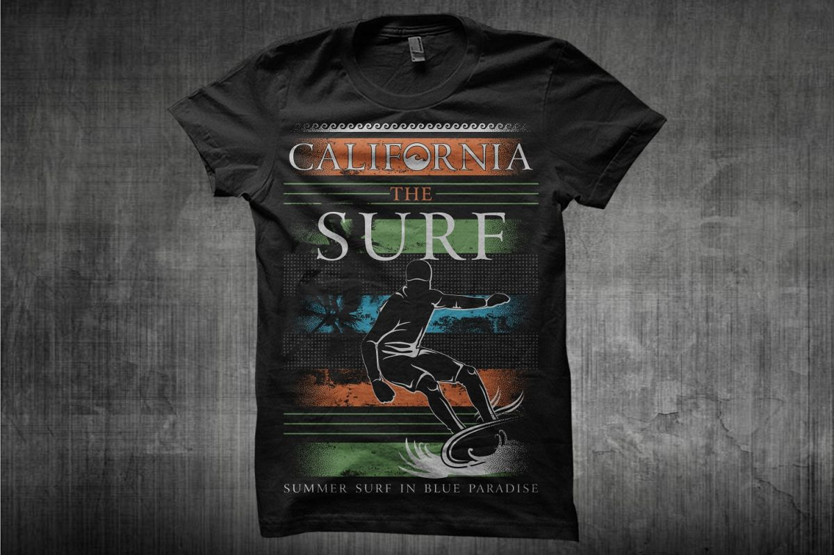 California The Surf Surfing T Shirt Design Template