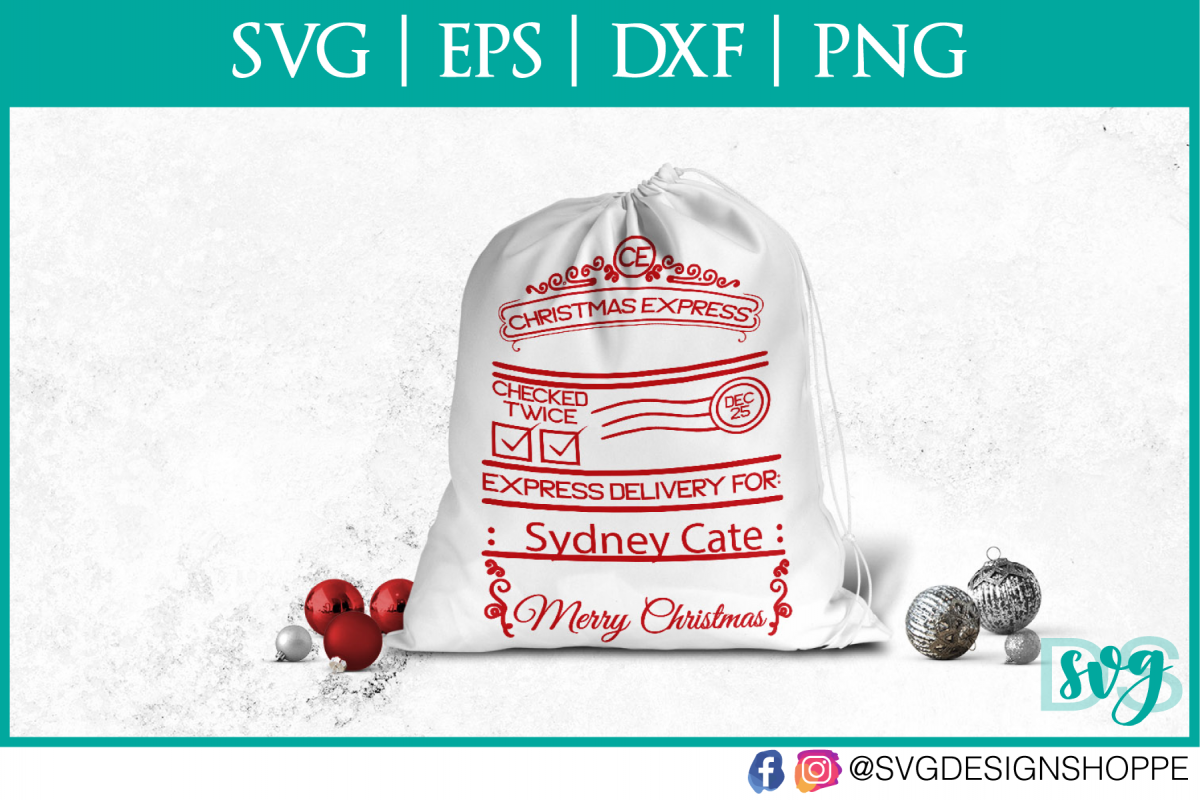 Christmas Express, Santa Sack, SVG, PNG example image 1