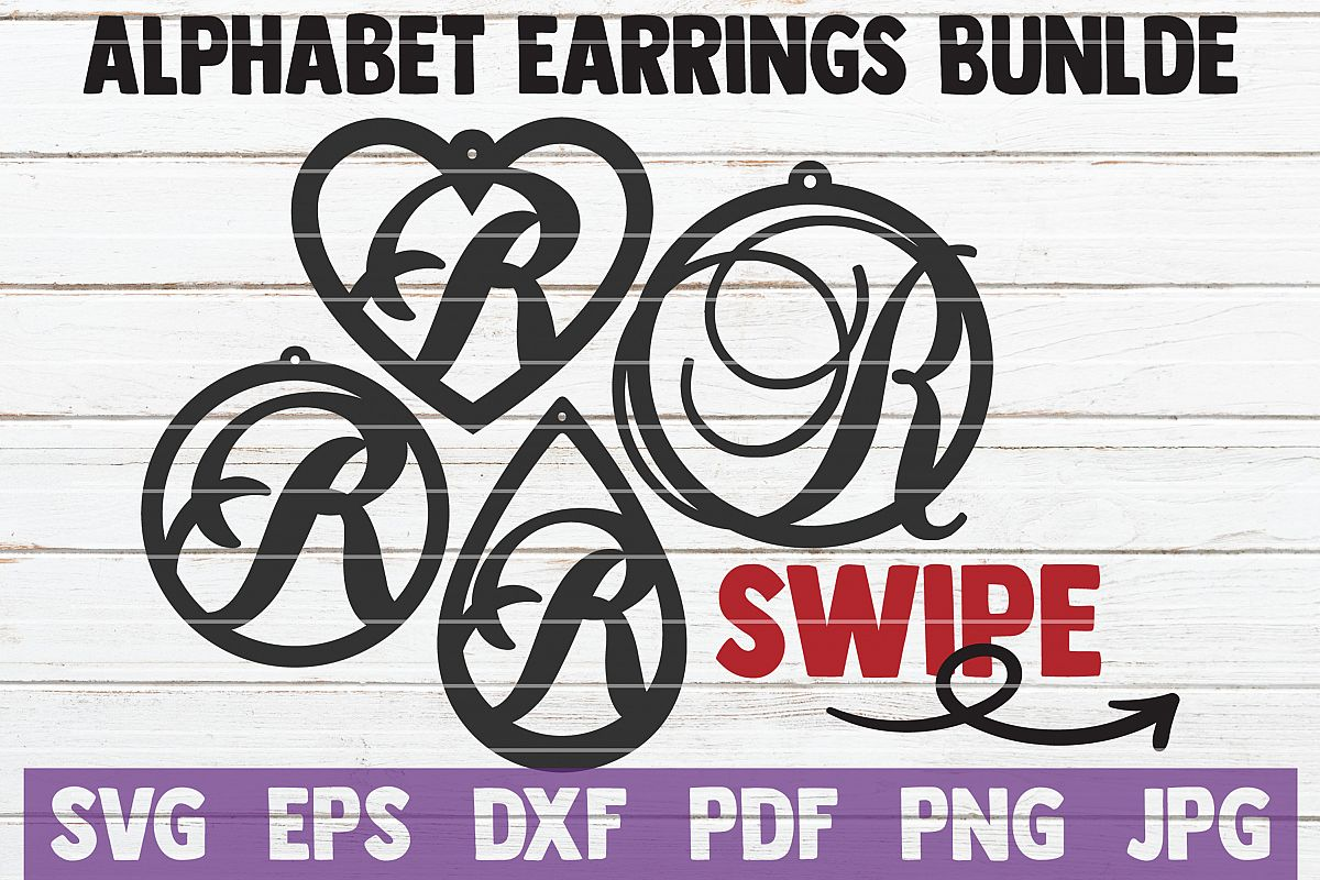 Alphabet Earrings Bundle | SVG Cut Files | commercial use example image 1