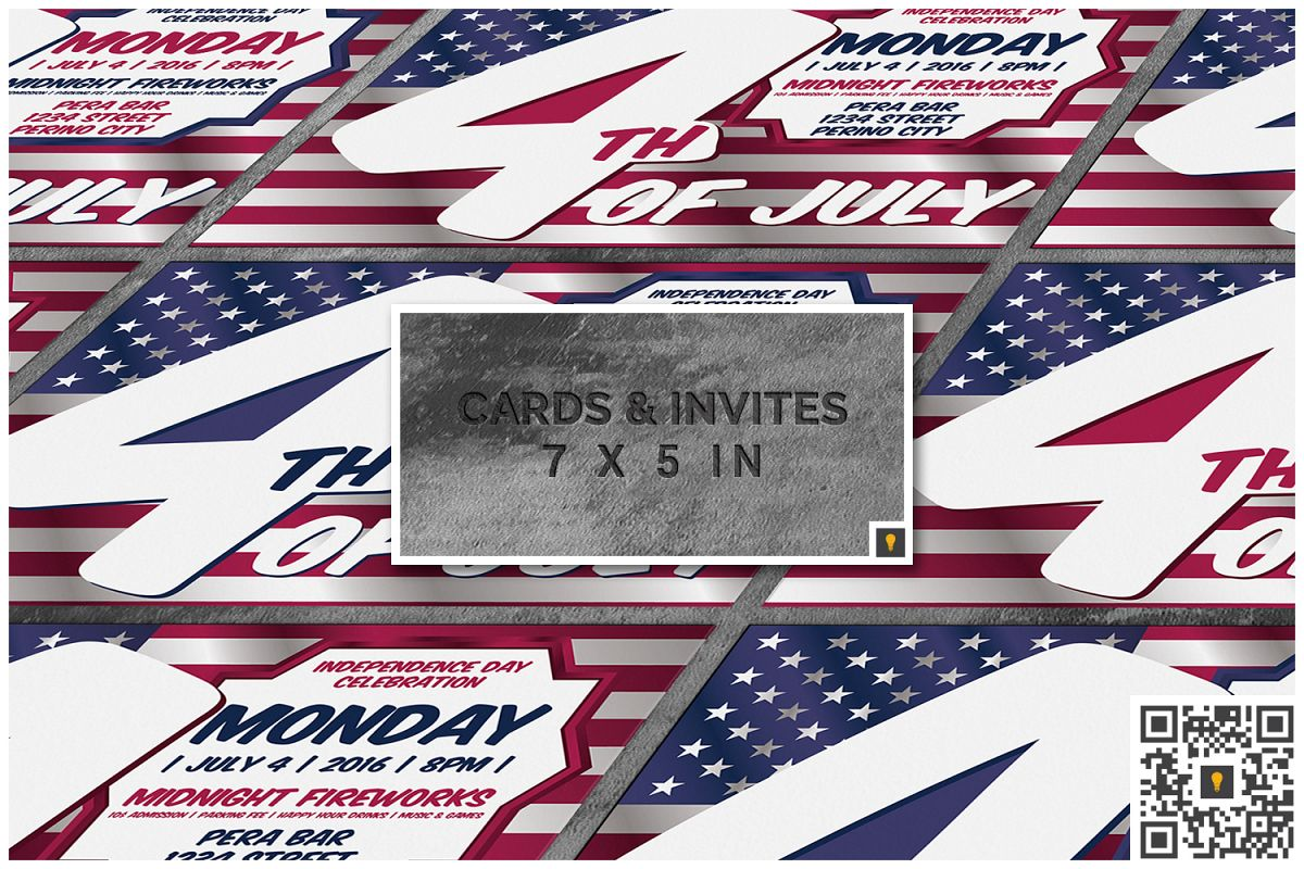 4th of July Invitation Card example image 1