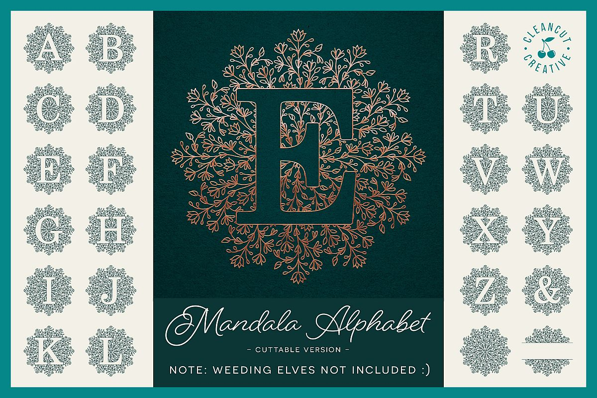 Intricate Mandala Monogram Alphabet in SVG DXF FCM EPS PNG example image 1