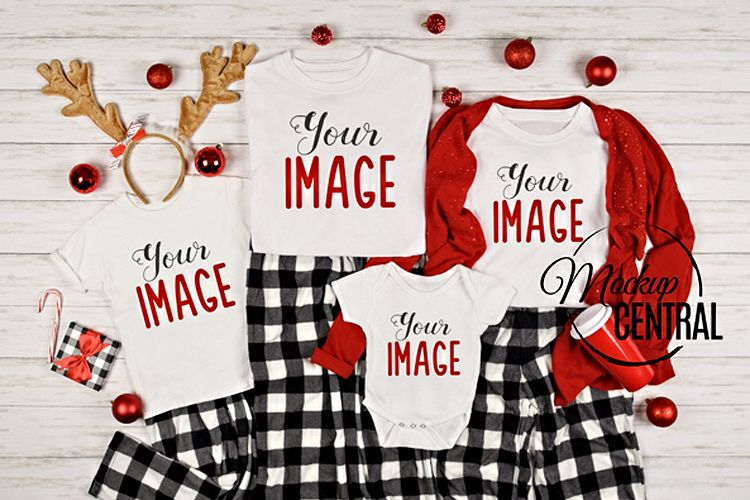 Matching Family White Christmas T-Shirt Mockup Photo example image 1
