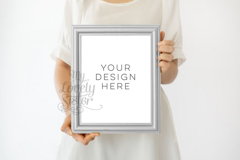 Silver Frame, Girl holding print Wall art Mockup, Minimalist Product ...