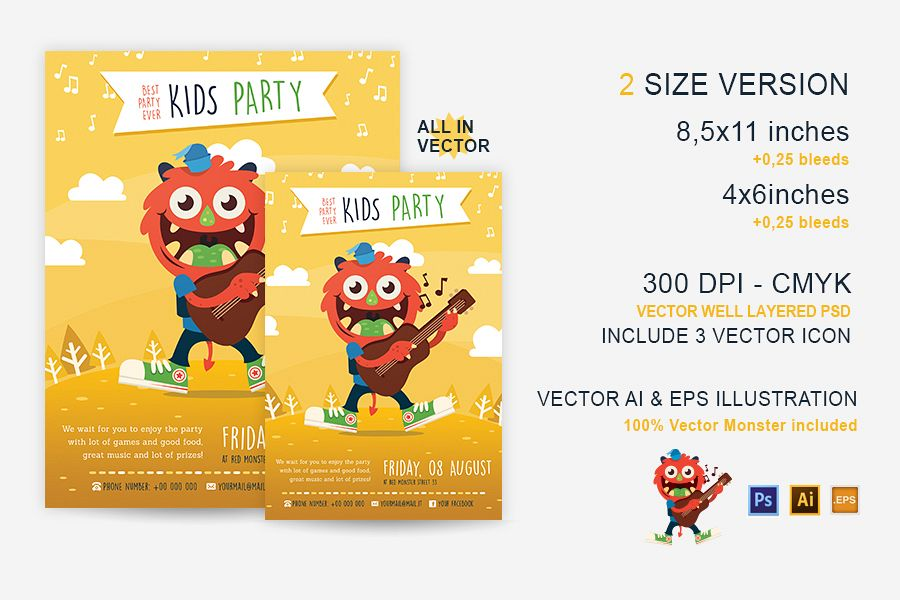 Party Kid Illustrated Flyer Template example image 1