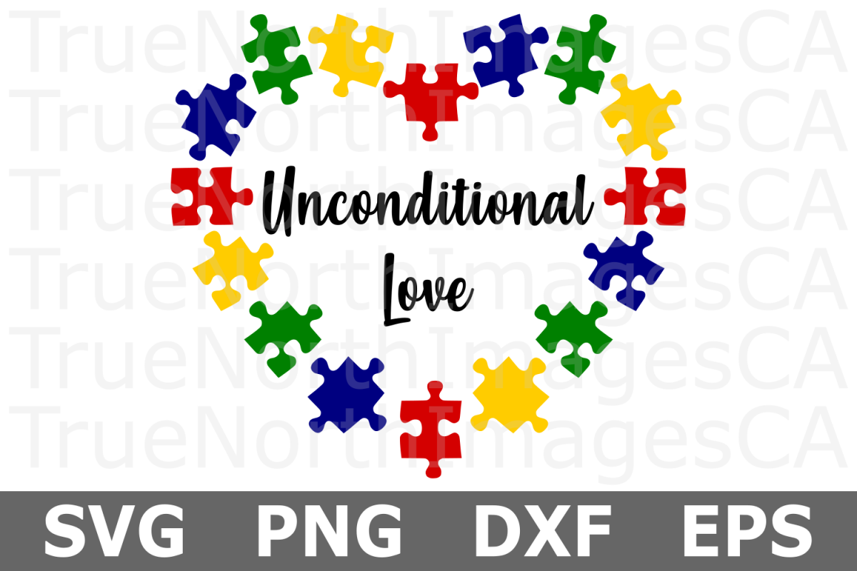 Unconditional Love Puzzle Heart - An Autism Awareness SVG Cu example image 1