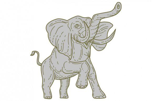 African Elephant Prancing Mono Line example image 1