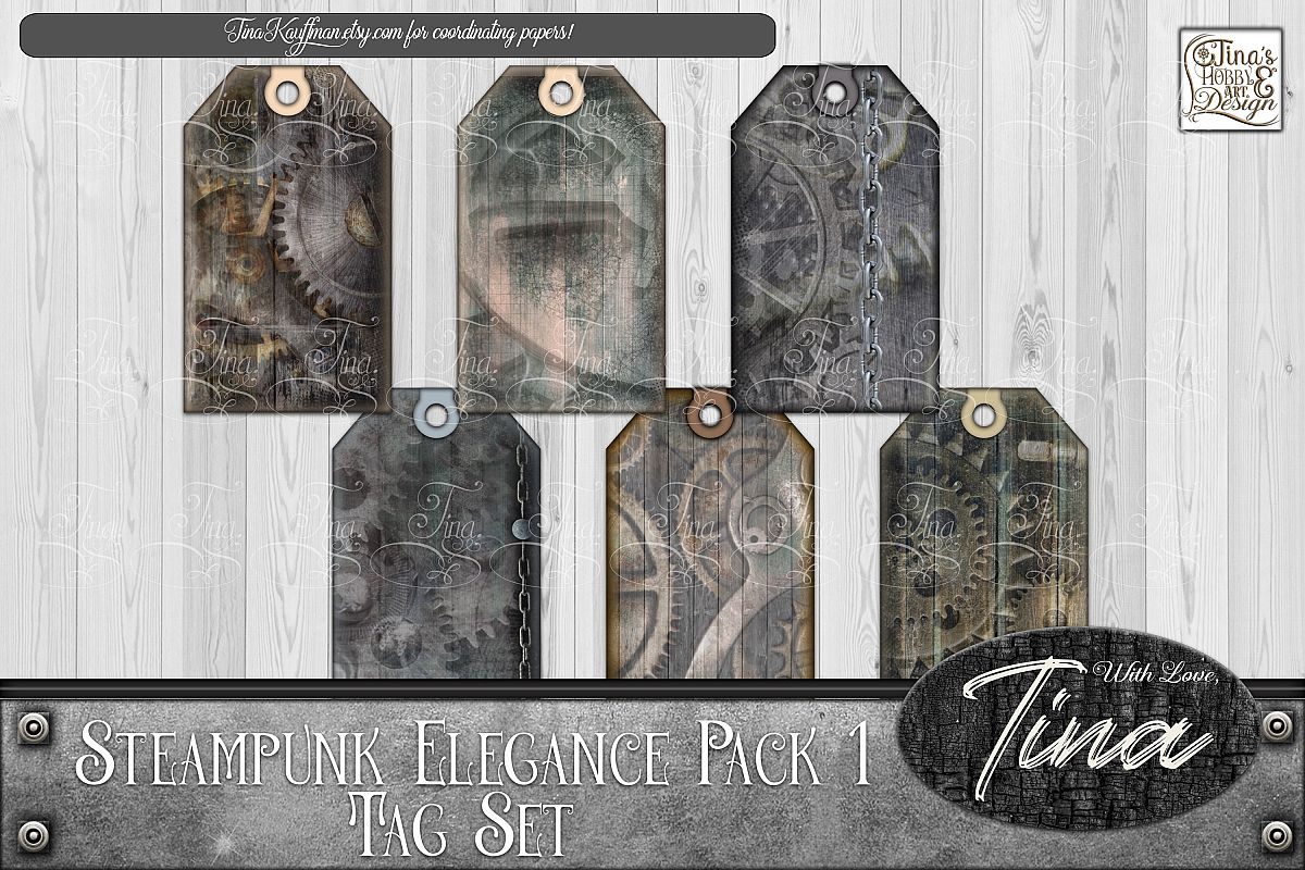 Steampunk Elegance Tags Collage Keys Gears Locks 092918SE1a example image 1