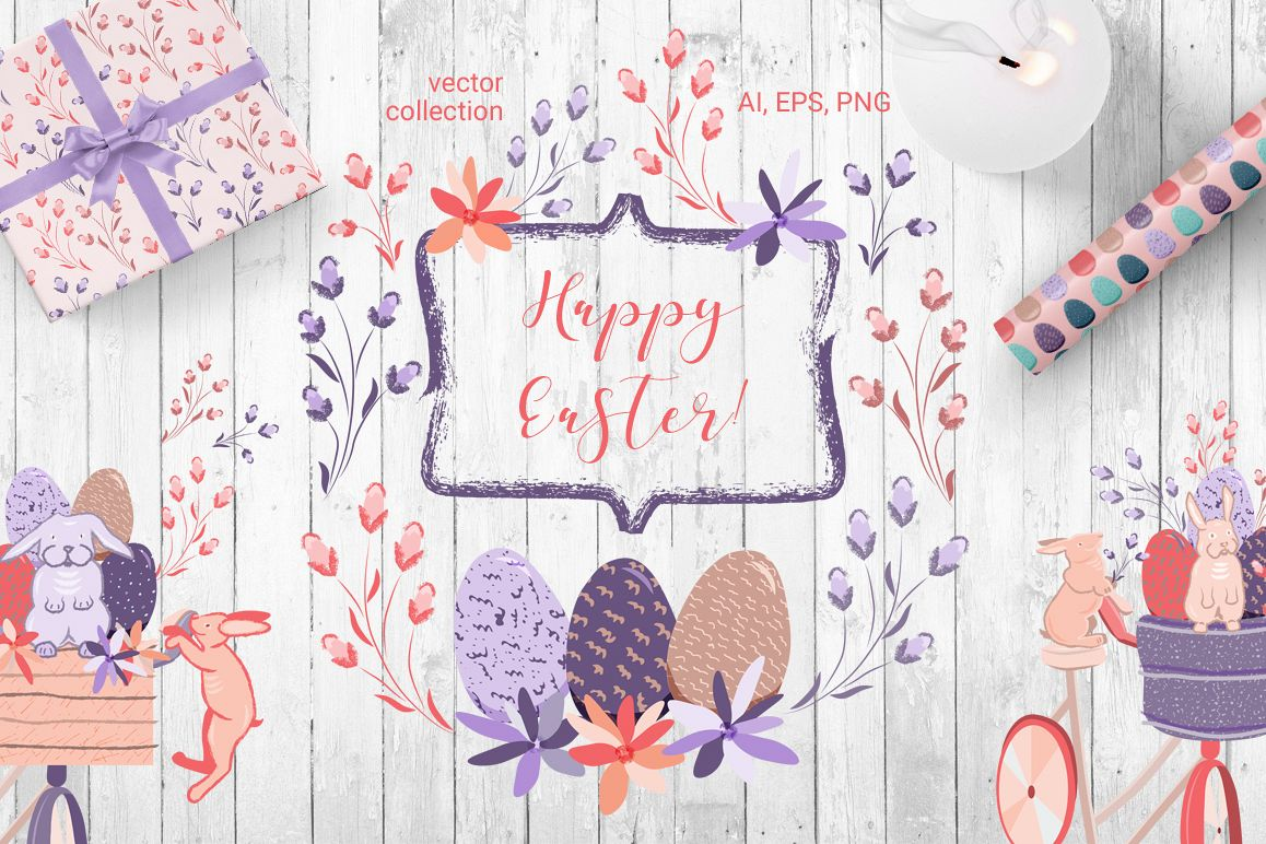 Happy Easter - vector collection example image 1