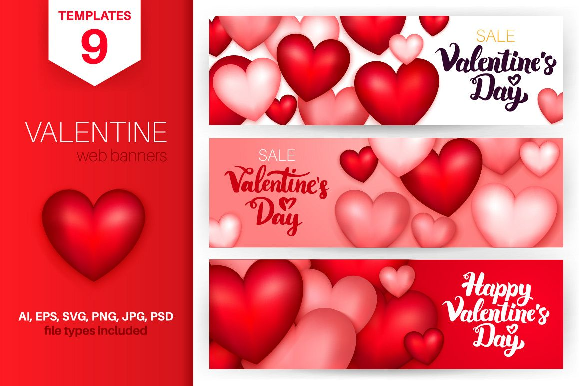 valentine s day banners by anna leni design bundles