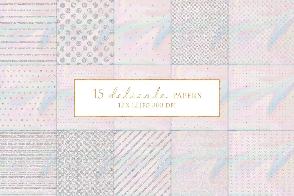 15 Silver Glitter stripes and Dots Digital Paper Pack example image 1