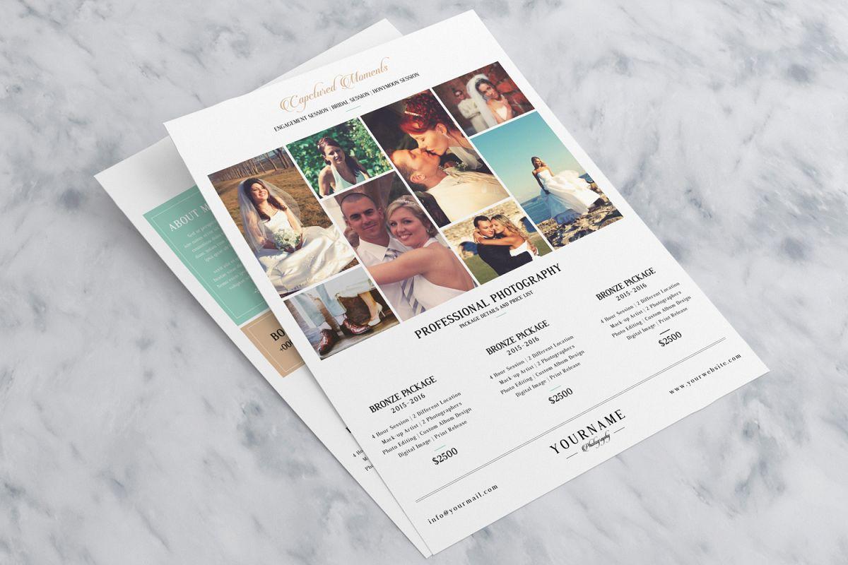 minimal photography price list marketing flyer