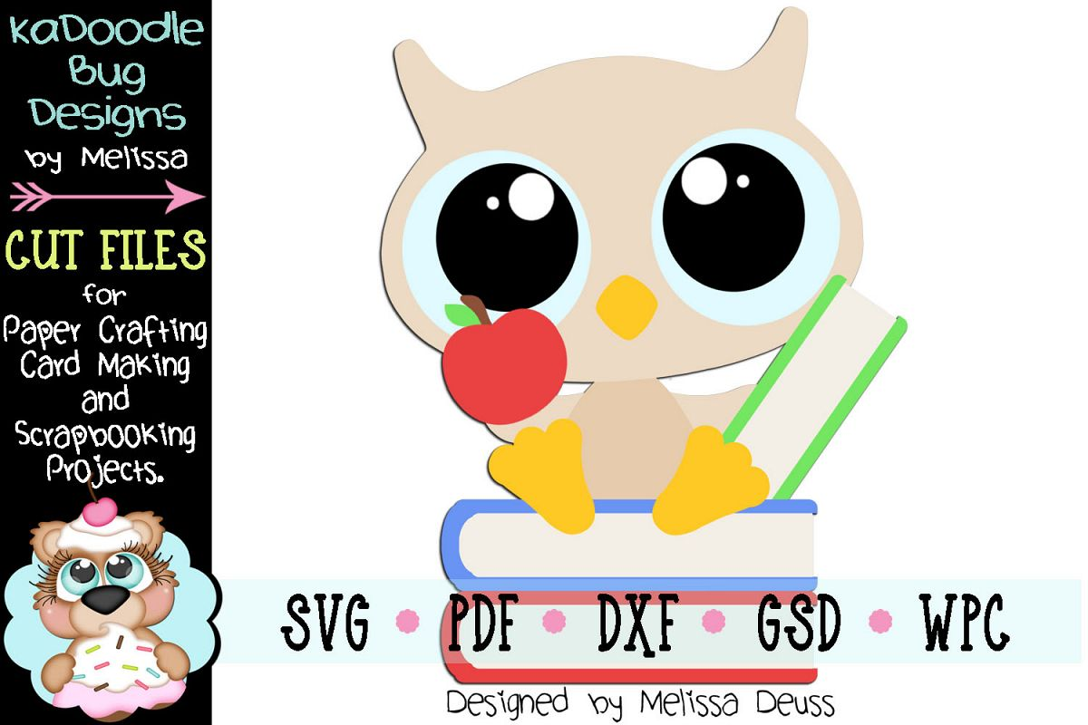 Reading Baby Owl Cut File - SVG PDF DXF GSD WPC example image 1