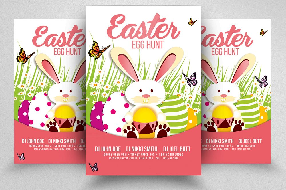 Egg Hunt Easter Flyer Print Template example image 1
