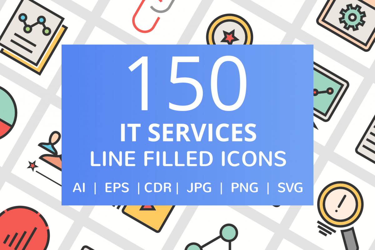 150 IT Services Filled Line Icons example image 1