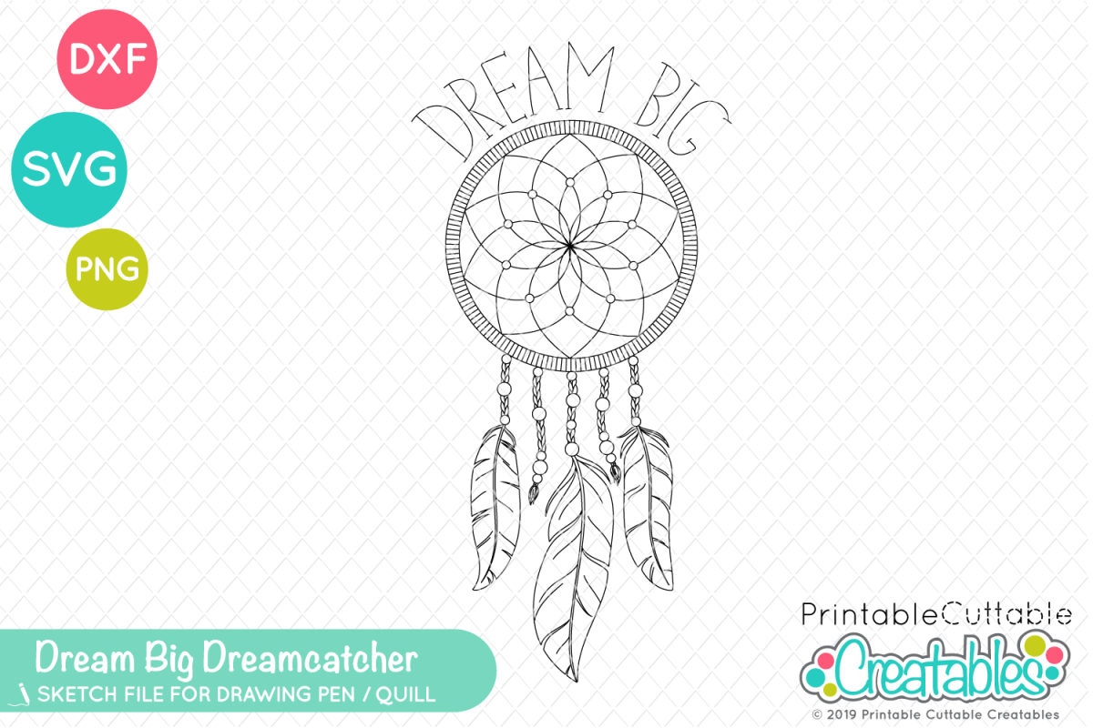 photo relating to Printable Cuttable Creatables titled Foil Quill Sketch SVG - Desire Substantial Dreamcatcher