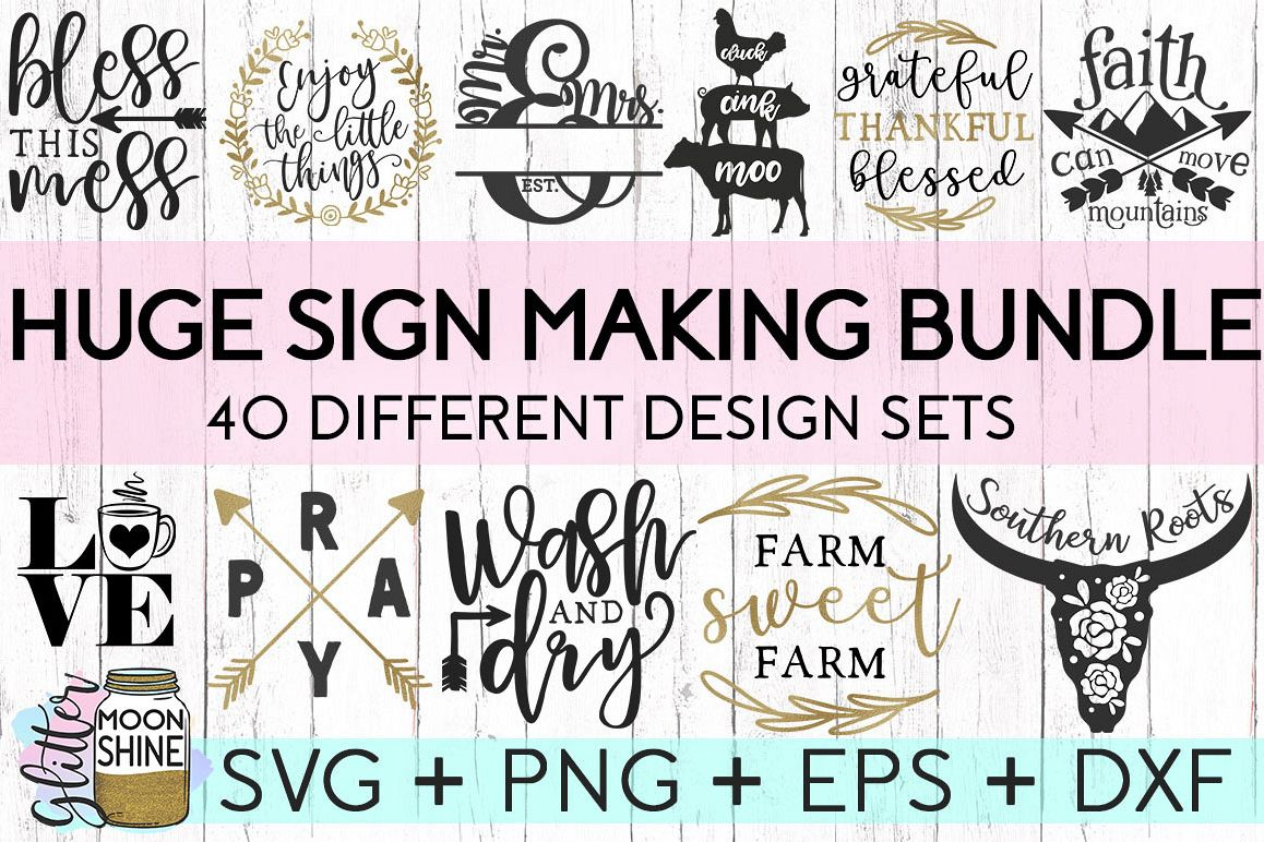 HUGE Sign Making Bundle Of 40 SVG DXF PNG EPS Cutting Files example image 1