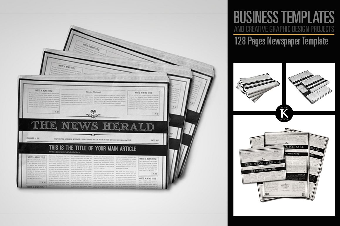 128 pages newspaper template by keboto design bundles