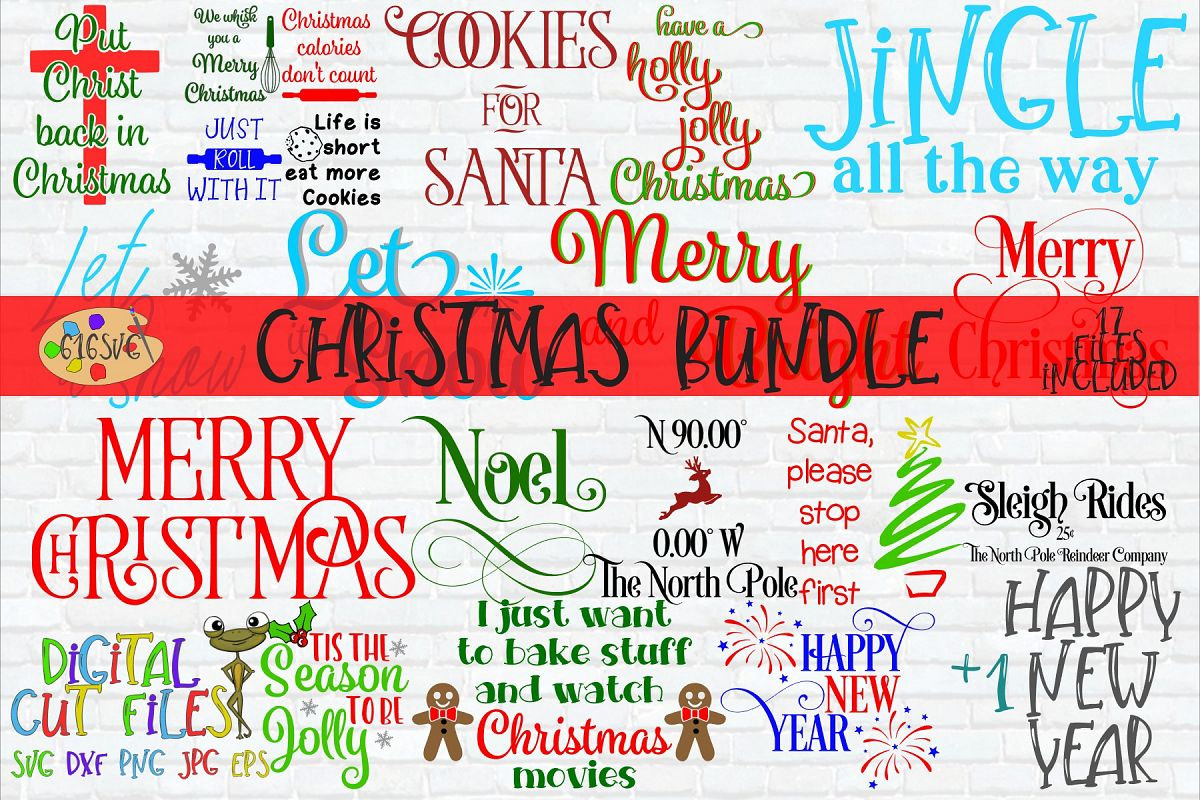 Christmas Bundle SVG, DXF, Ai, PNG example image 1