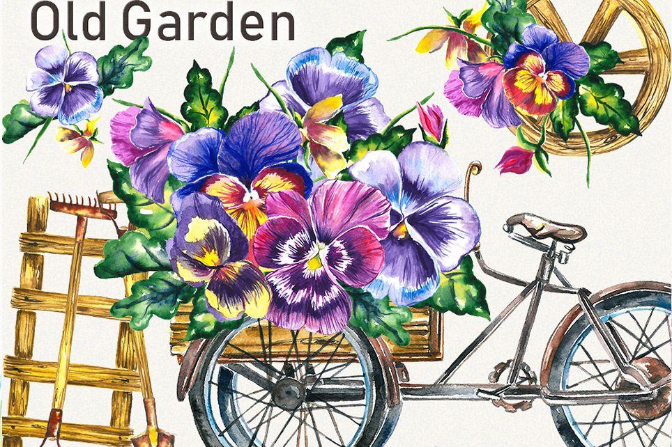 Garden clipart, spring clipart, garden tools,pansy clipart example image 1
