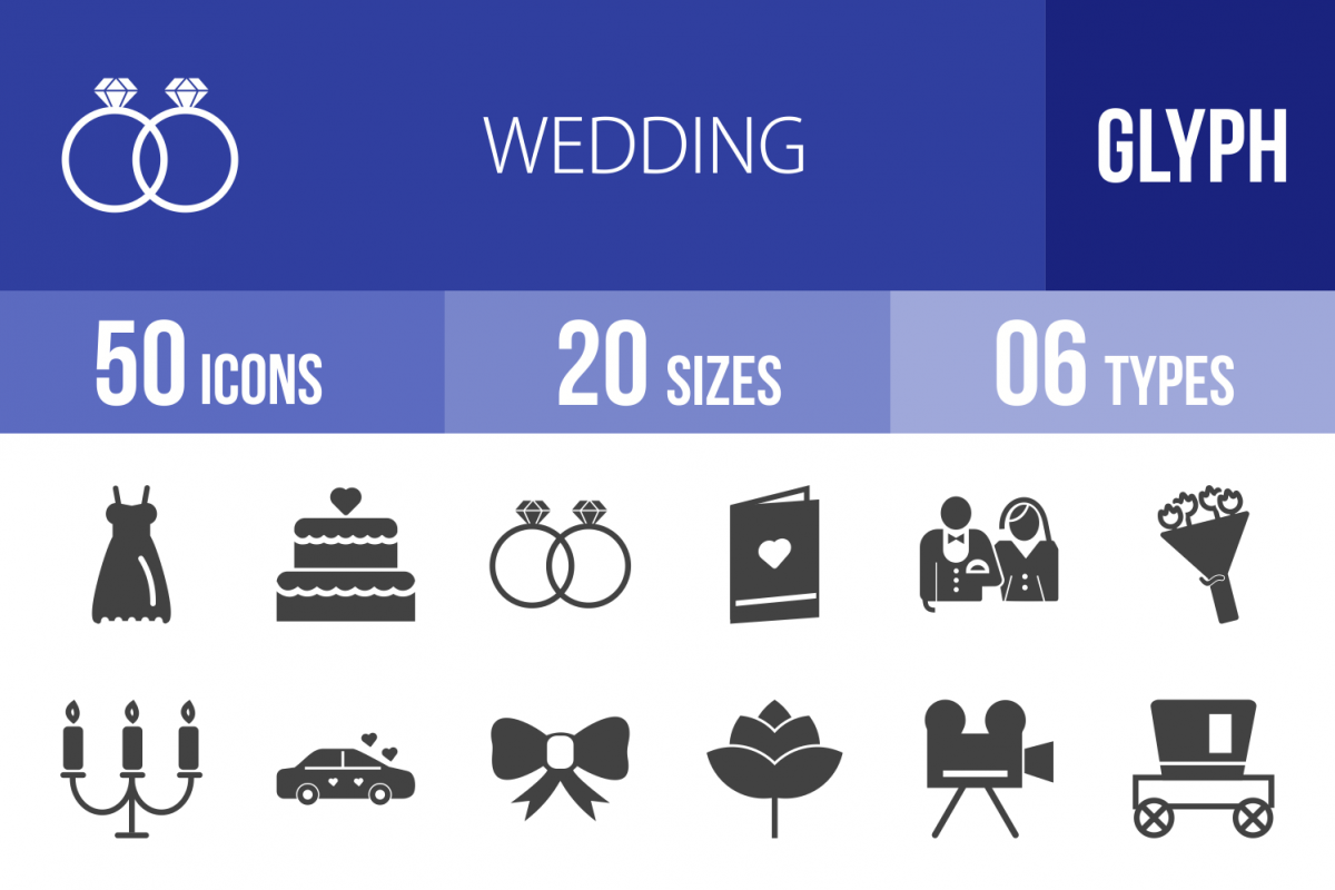 50 Wedding Glyph Icons example image 1