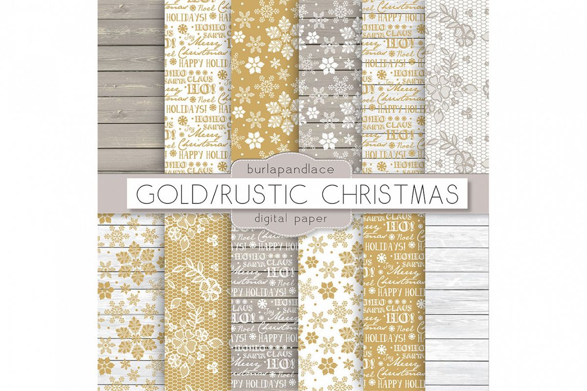 Gold snowflakes christmas digital papers example image 1