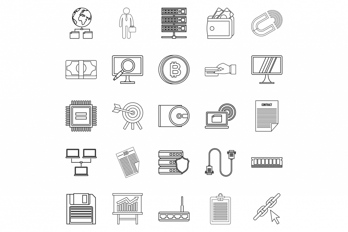 Clerk icons set, outline style example image 1