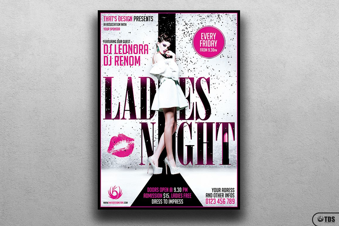 Ladies Night Fyer Poster Template V1 example image 1