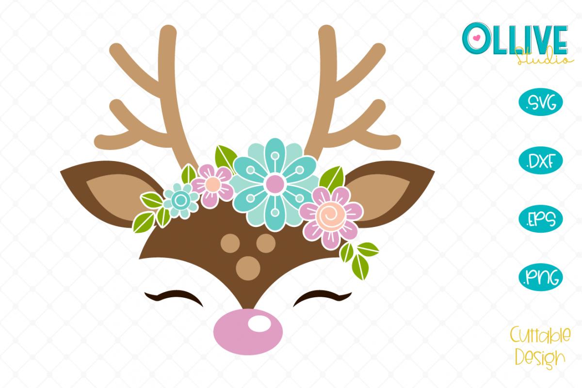 Floral Deer SVG example image 1