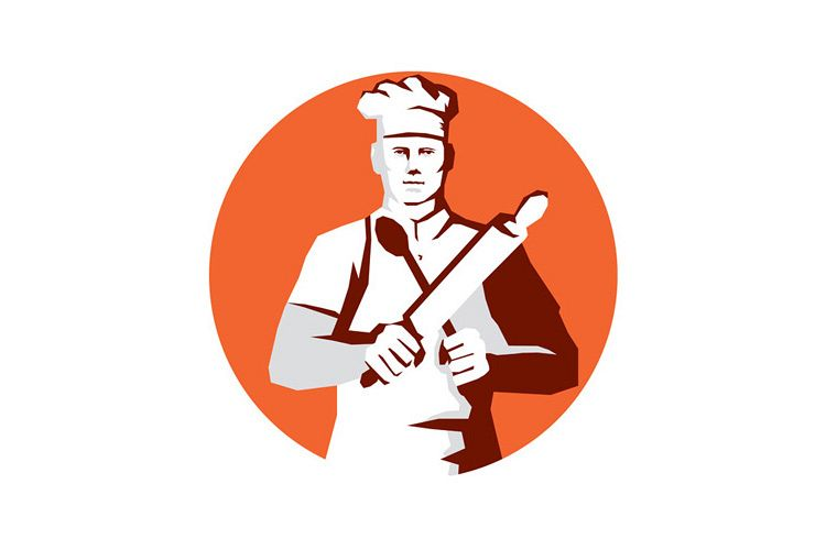 Chef Cook Rolling Pin Spatula Stencil example image 1