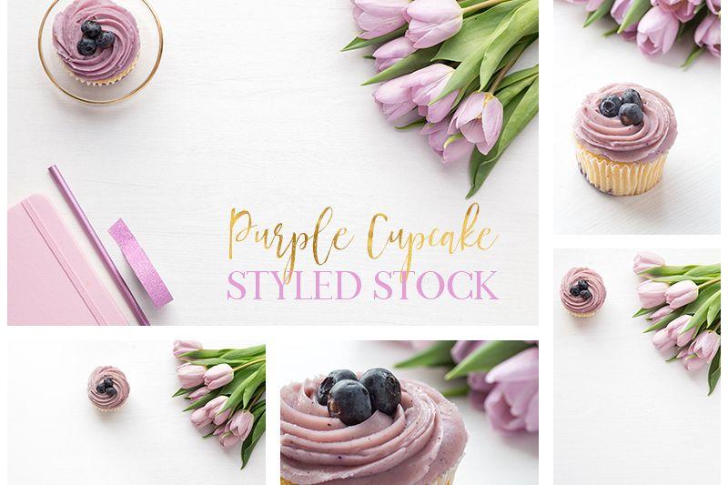 Purple Cupcake Syled Stock bundle example image 1