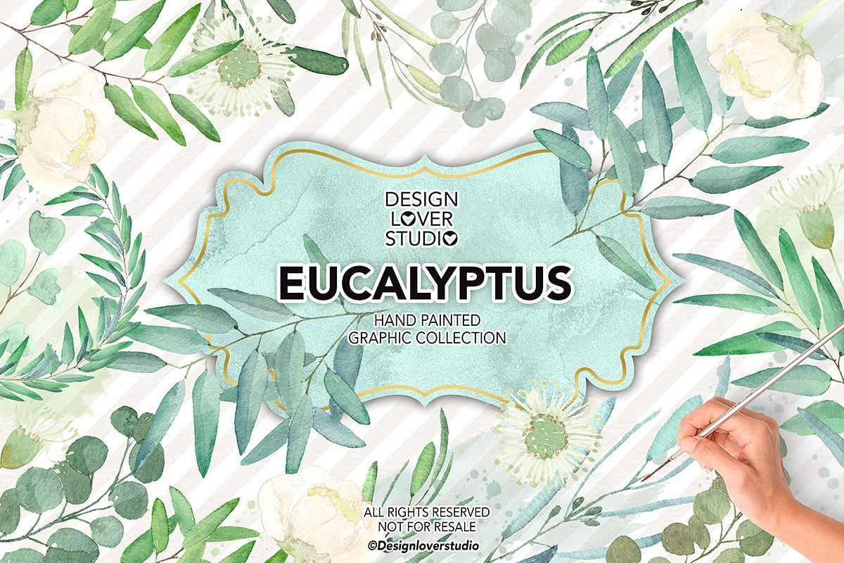 Watercolor Eucalyptus Leaves example image 1