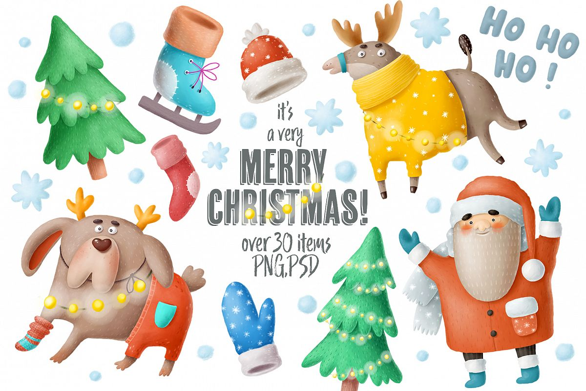 Christmas Illustrations.Set Of Christmas Illustrations